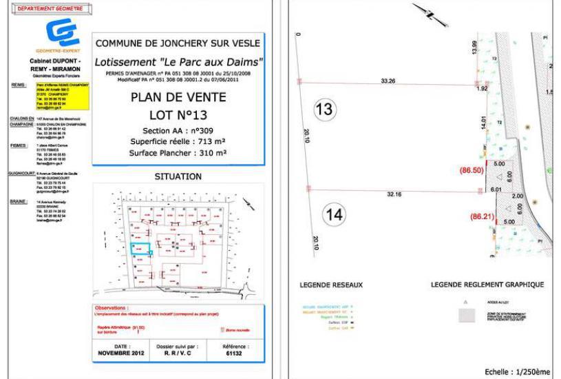 Vente Terrain à bâtir - 713m² à Jonchery-sur-Vesle (51140)